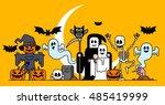 vector illustration   halloween ... | Shutterstock .eps vector #485419999