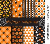 different halloween patterns in ... | Shutterstock .eps vector #485421754