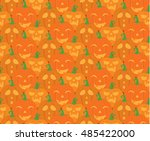 halloween pattern  orange... | Shutterstock .eps vector #485422000