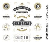 christmas labels and badges... | Shutterstock .eps vector #485422528