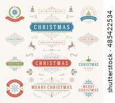christmas labels and badges... | Shutterstock .eps vector #485422534