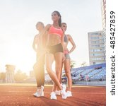 group of fit young sportswomen... | Shutterstock . vector #485427859