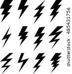 set of simple lightning bolt | Shutterstock .eps vector #485431756