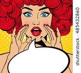 sexy surprised pop art woman... | Shutterstock .eps vector #485432860