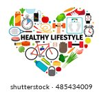 healthy lifestyle heart emblem. ... | Shutterstock .eps vector #485434009