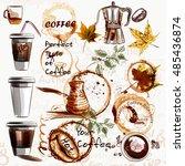 big set of coffee elements... | Shutterstock .eps vector #485436874