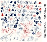 collection of vector hand drawn ... | Shutterstock .eps vector #485436928