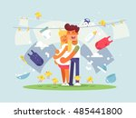 young couple expecting a baby | Shutterstock .eps vector #485441800