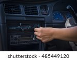 hand adjusting the air...   Shutterstock . vector #485449120