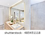 luxury bathroom with mirror and ... | Shutterstock . vector #485451118