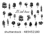 drawing set of 25 trees ink...