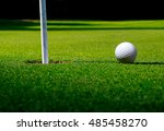 long shadows on golf field with ... | Shutterstock . vector #485458270