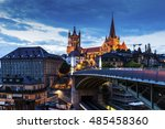 lausanne cathedral and city... | Shutterstock . vector #485458360
