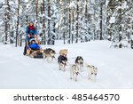husky dogs are pulling sledge... | Shutterstock . vector #485464570