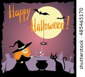 happy halloween. witch cooks a... | Shutterstock .eps vector #485465170