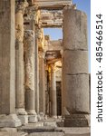 Small photo of Detail of pillars in the ancient state agora. Side, Turkey.