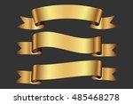 set of golden ribbons   Shutterstock .eps vector #485468278