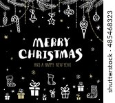merry christmas card with hand... | Shutterstock .eps vector #485468323