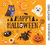 happy halloween poster or... | Shutterstock .eps vector #485473480
