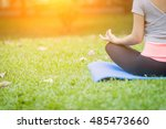 yoga in the park  outdoor with... | Shutterstock . vector #485473660