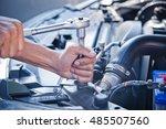 fixing a car  check the... | Shutterstock . vector #485507560