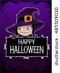 halloween vector card.... | Shutterstock .eps vector #485509030