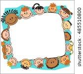 illustration of kids banner... | Shutterstock .eps vector #485510800