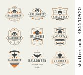 halloween celebration labels... | Shutterstock .eps vector #485510920