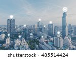 blue high tech tone of... | Shutterstock . vector #485514424
