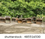 buckets in a row   Shutterstock . vector #485516530