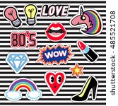 set of patches and stickers ... | Shutterstock .eps vector #485521708