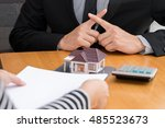 banks refuse loans to buy homes.... | Shutterstock . vector #485523673
