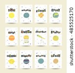 cute hand drawn doodle cards ... | Shutterstock .eps vector #485525170