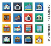 government buildings flat icons ... | Shutterstock . vector #485528350