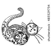 cat black white vector. zen art.... | Shutterstock .eps vector #485529754