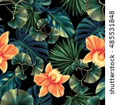Stock photo seamless tropical flower plant and leaf pattern background retro botanical style stylish flowers 485531848