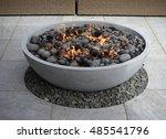 modern fire pit on backyard...   Shutterstock . vector #485541796