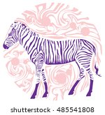 animal in profile zebra...   Shutterstock .eps vector #485541808