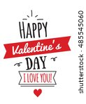 happy valentines day greeting.... | Shutterstock . vector #485545060