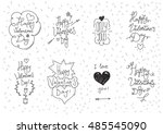 valentines day greeting card.... | Shutterstock . vector #485545090