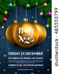 christmas party poster design.... | Shutterstock .eps vector #485553799