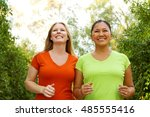 friends exercising and walking... | Shutterstock . vector #485555416
