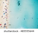 aerial view of sandy beach with ... | Shutterstock . vector #485555644