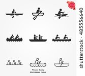 Rowing Icon Set Boat Isolated...