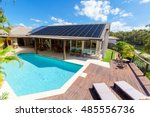 backyard with swimming pool in... | Shutterstock . vector #485556736