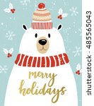 christmas greeting card with... | Shutterstock .eps vector #485565043