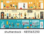 take the stairs exercise sports ... | Shutterstock .eps vector #485565250