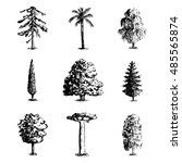 set of hand drawn tree sketches ... | Shutterstock .eps vector #485565874
