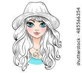 vector beautiful fashionable... | Shutterstock .eps vector #485566354