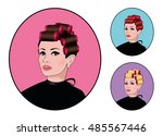 girl with hair rollers set.... | Shutterstock .eps vector #485567446
